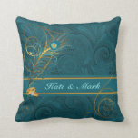 """Newlyweds Teal Peacock and Gold Custom Name Throw Pillow<br><div class=""""desc"""">This lovely pillow for the newlyweds is 2-sided and features a paisley print in teal with gold wedding rings,  swirls,  peacock feathers and is personalized with the couple"""