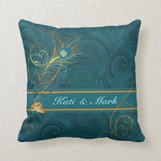 Newlyweds Teal Peacock and Gold Custom Name Throw Pillow