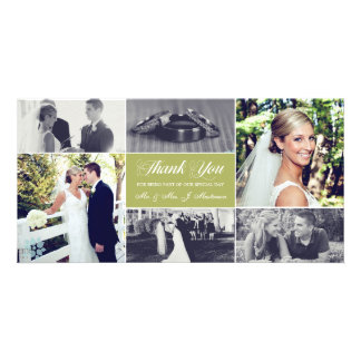 Newlyweds Thank You Photo Card Moss Green