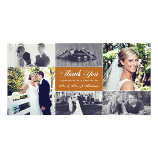 Newlyweds Thank You Photo Card Orange Bronze