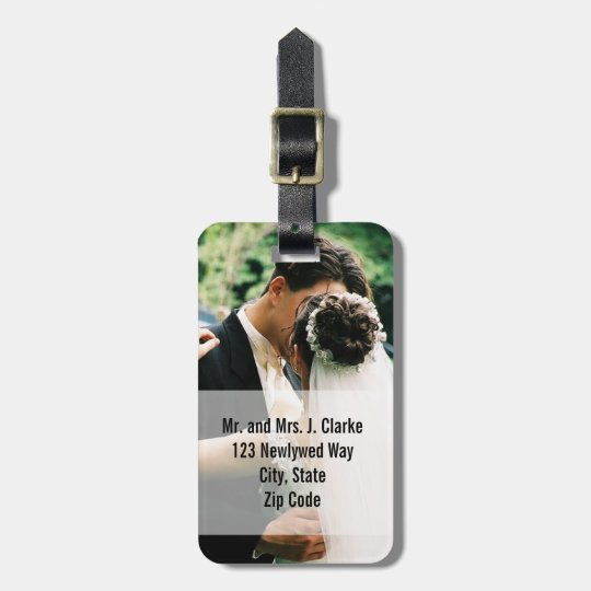 Newlyweds Wedding Photo Personalized Luggage Tags