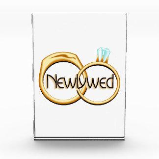 Newlyweds Wedding Rings Acrylic Award
