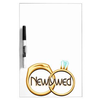 Newlyweds Wedding Rings Dry-Erase Board