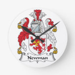 Newman Family Crest Round Clock
