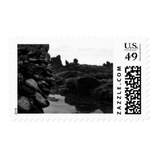Newport Beach BW Rocks and muscles Stamp
