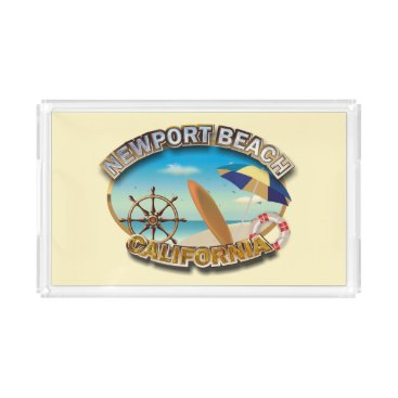 Beach Themed Newport Beach, California Acrylic Tray