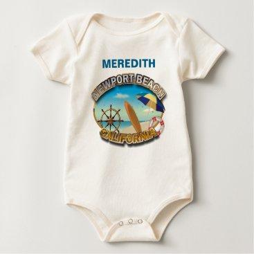 Beach Themed Newport Beach, California Baby Bodysuit