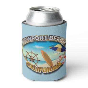 Beach Themed Newport Beach, California Can Cooler