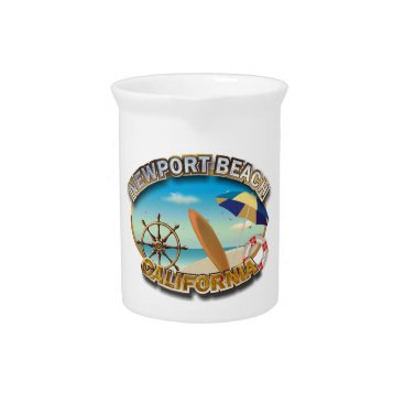 Beach Themed Newport Beach, California Drink Pitcher