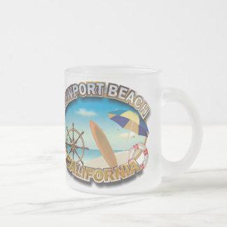 Newport Beach, California Frosted Glass Coffee Mug