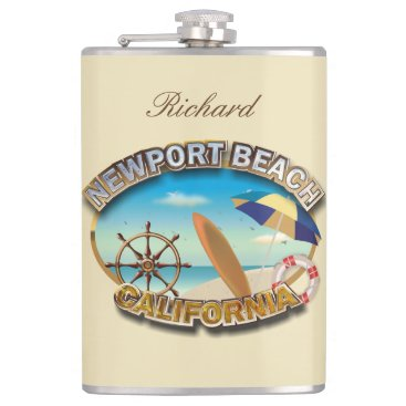 Beach Themed Newport Beach, California Hip Flask