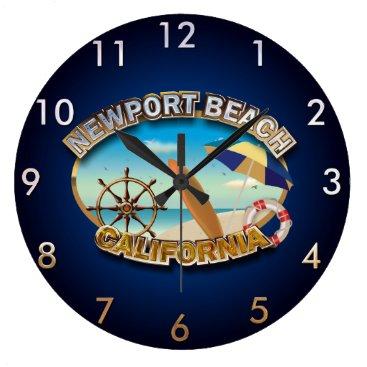 Beach Themed Newport Beach, California Large Clock