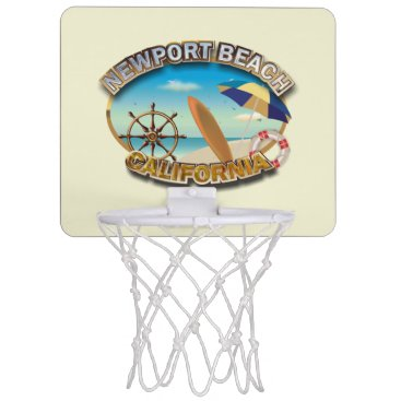 Beach Themed Newport Beach, California Mini Basketball Backboard