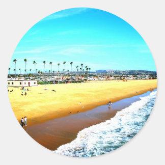 Newport Beach California ocean picture Classic Round Sticker