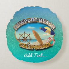Newport Beach, California Round Pillow