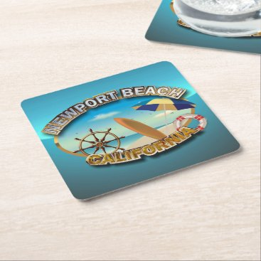 Beach Themed Newport Beach, California Square Paper Coaster