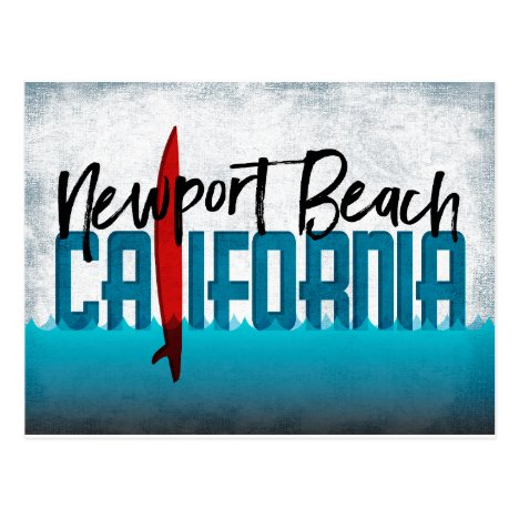 Newport Beach California Surfboard Surfing Postcard