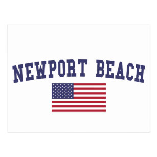Newport Beach Us Flag Postcard