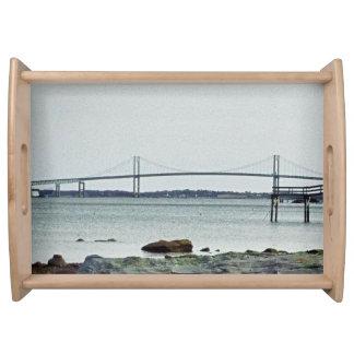 Newport Bridge Rhode Island serving tray