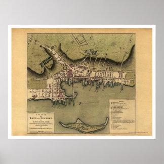 Newport, mapa de la ciudad de RI - 1777 Posters