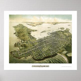 Newport, mapa panorámico de RI - 1878 Posters
