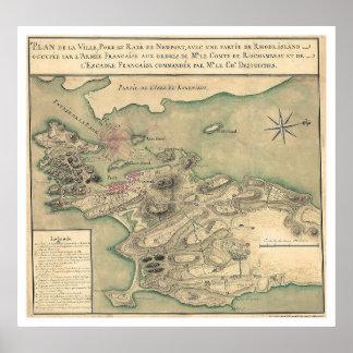 Newport, mapa revolucionario 1780 de RI Posters