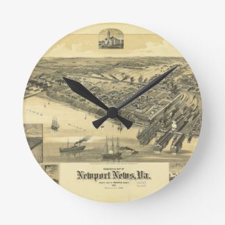 Newport News Virginia Warwick County Map 1891 Round Wall Clocks