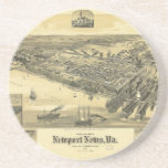 Newport News Virginia Warwick County Map 1891 Beverage Coasters