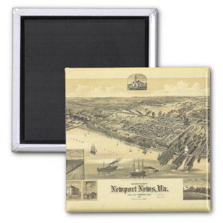 Newport News Virginia Warwick County Map 1891 Magnet