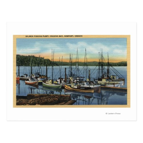 Newport Oregon _ Salmon Fishing Fleet in Yaquin Postcard