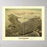 Newport Rhode Island 1878 Antique Panoramic Map Print