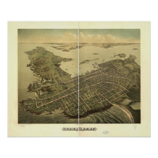 Newport Rhode Island 1878 Antique Panoramic Map Poster