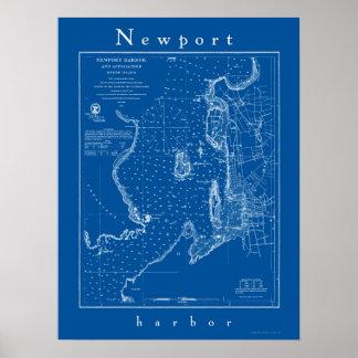 Newport Rhode Island Nautical Chart Poster