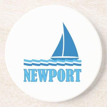 Beach Themed Newport Sailboat Sandstone Coaster