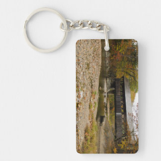 Newry Covered Bridge over river in autumn Double-Sided Rectangular Acrylic Keychain