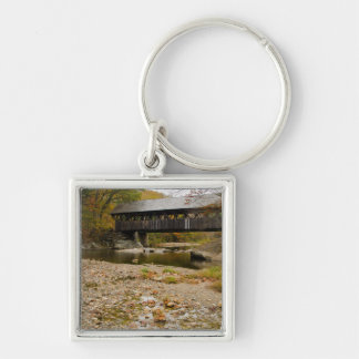 Newry Covered Bridge over river in autumn Keychains