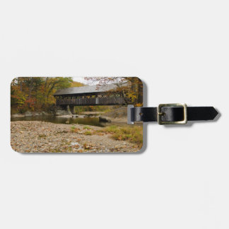 Newry Covered Bridge over river in autumn Travel Bag Tags