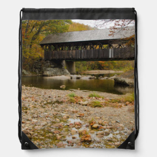 Newry Covered Bridge over river in autumn Drawstring Bags