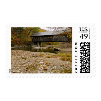 Newry Covered Bridge over river in autumn Postage Stamp