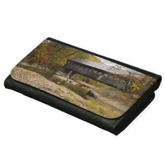 Newry Covered Bridge over river in autumn Wallet