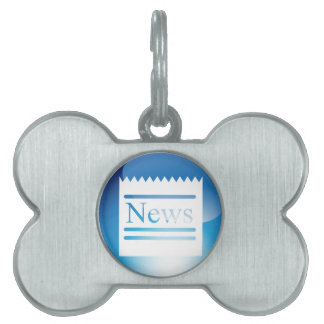 News Blue Crystal Button Pet Tag