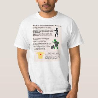 News Bulletin  April 1st 2314 on t shirts