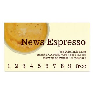 News Coffee Drink Loyalty / Punch Card Business Card Templates