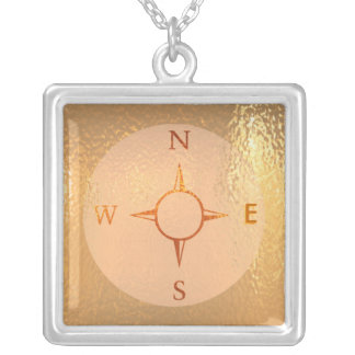 news east west north south compass silver plated necklace