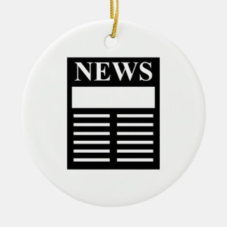 News Headlines Double-Sided Ceramic Round Christmas Ornament