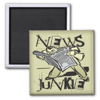 News Junkie 2 Inch Square Magnet