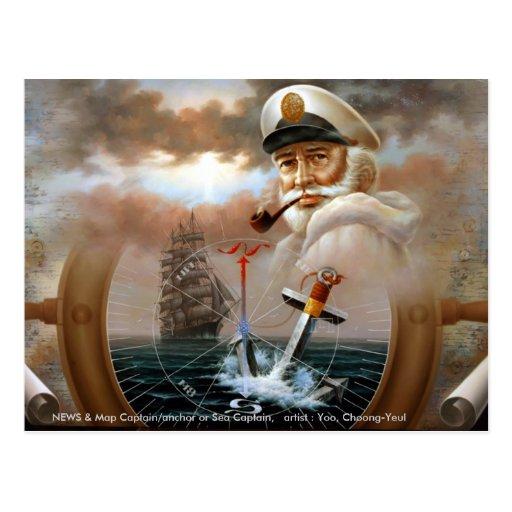 NEWS & Map Captain/anchor or Sea Captain Postcard