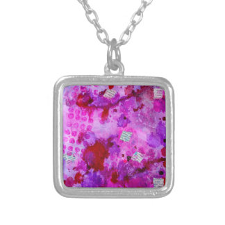 News pink square pendant necklace