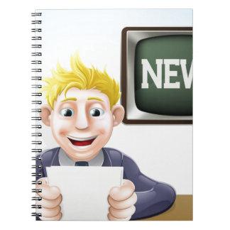 News reader cartoon note book