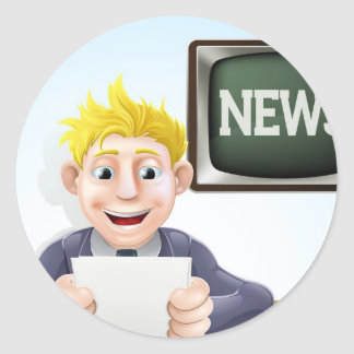 News reader cartoon stickers